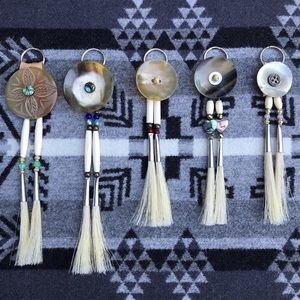 Native American Genuine Horn & Horsehair Keychains